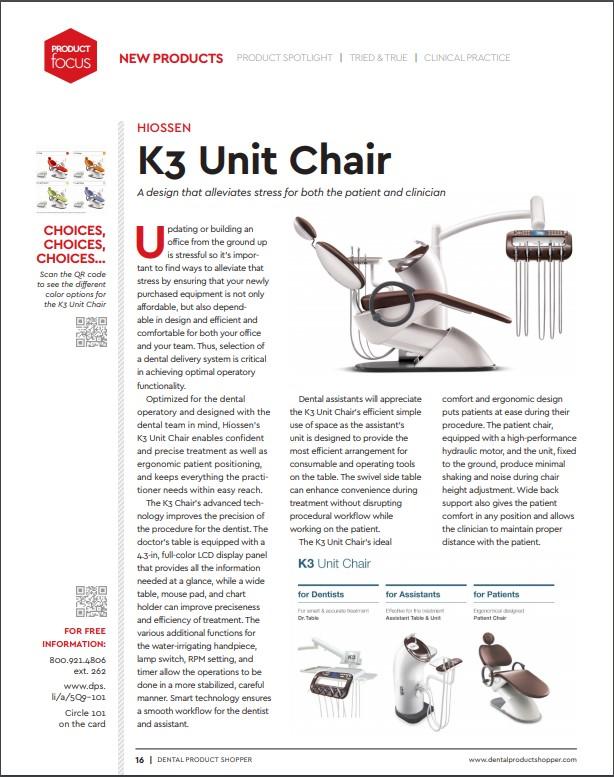 K3 Unit Chair Alleviate Stress For Patients Hiossen